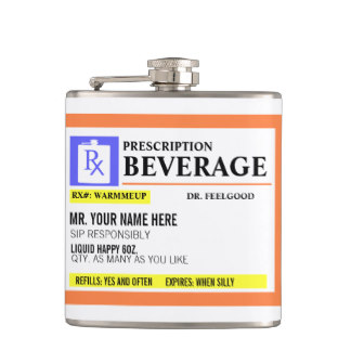 funny prescription label flask