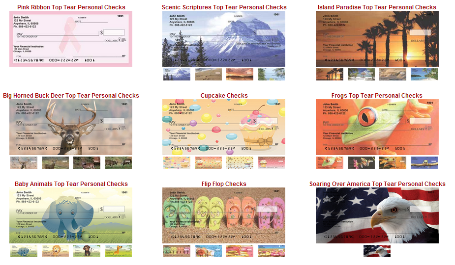Sampling of Check Styles - Click to see larger image.