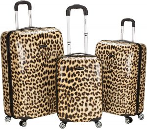 Leopard Rockland Luggage 3 Piece Upright Set