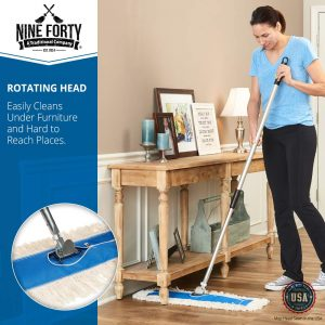 Nine Forty USA 24 Inch Commercial Cotton Dry Dust Mop Head Hardwood Floor Duster Broom Set